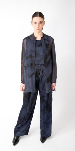 Transparant silk blouse - black/blue