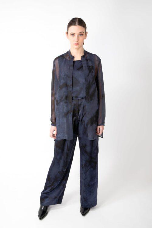 Transparant silk blouse - black/blue