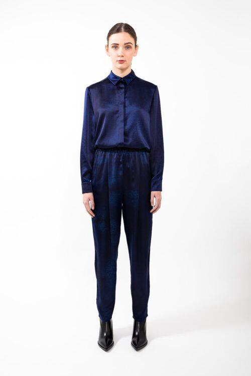 Blouse Blue gravel silk