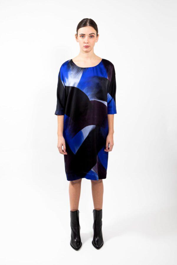 Dress Blue brush silk - Behind the Circle