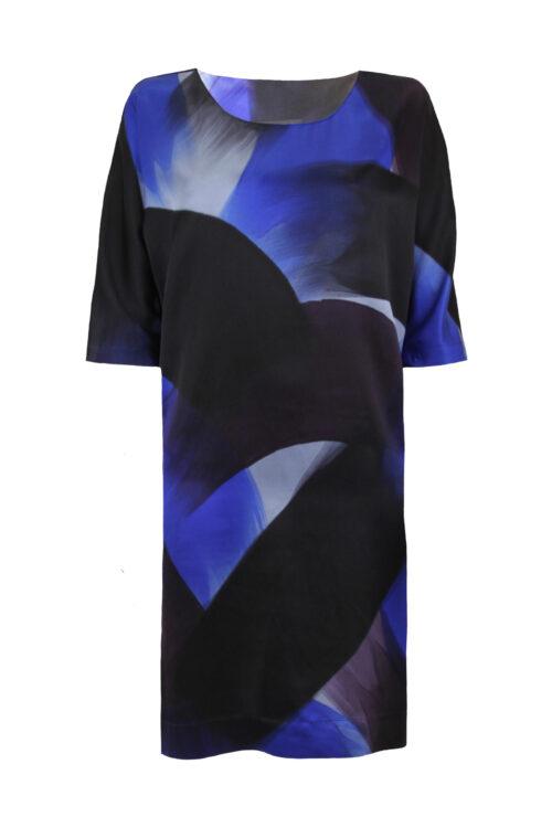 Dress blue brush front