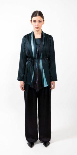 Silk Jacket with Green stripe