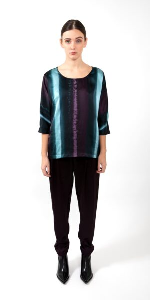 Top Green stripe - silk
