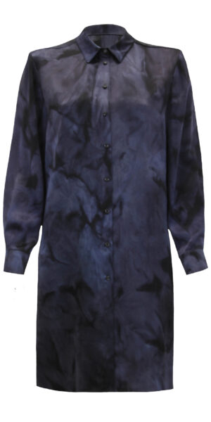 Silk blouse dress black blue - Front