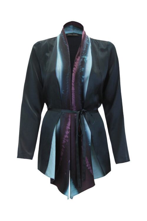 Silk coat black and blue brush - front