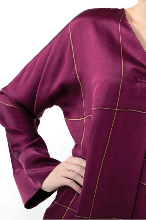 Silk dress red and golden stripe - details